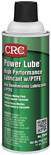 CRC Power Lube Industrial High Performance Lubricant with PTFE, 16 oz. (Net weight: 11 oz)  Aerosol Can, Light Amber/White