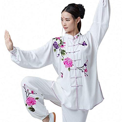 XGYUII Frauen Tai Chi Uniform Kleidung Anzug Bestickte Baumwolle und Seide Traditionelle chinesische Shaolin Kung Fu Tai Chi Übung Taekwondo Trainingskleidung,M