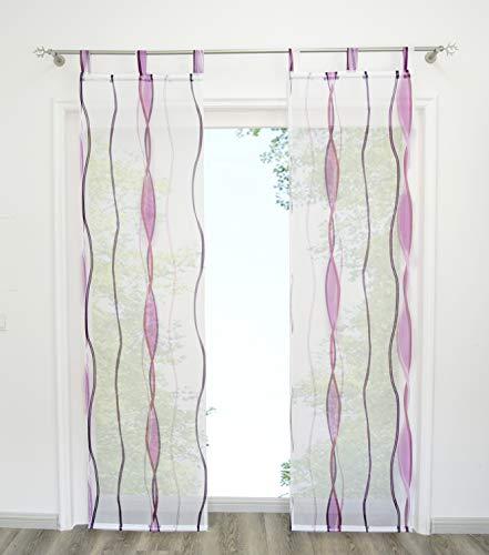 Home U Rideau Voilage avec Impression Vague Lot de 2 Panneaux Rideau à Pattes (LxH 57x225cm, Violet)