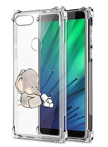 Oihxse Crystal Coque pour Xiaomi Redmi Note 5 Pro/Note 5 Transparent Silicone TPU Etui Air Cushion Coin avec Motif [Elephant Lapin] Housse Antichoc Pr