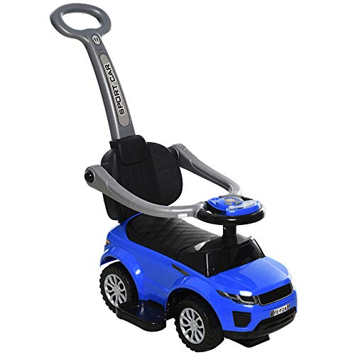 Aosom 3 in 1 Kid Ride on Push Car Stroller Sliding Walking Car with Horn Music Light Function Safety Bar Ride on Toy for Boy Girl Toddlers 1-3 Years Old Blue