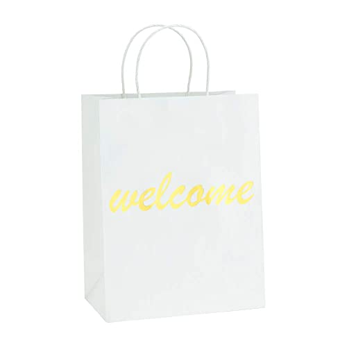 b37931b5525 BagDream White Kraft Paper Welcome Gift Bags Bulk with Handles 25Pc,  8x4.75x10.