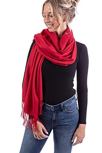 WOMEN'S WEAR U&F FASHIONSTORE U&F Damen Schal   100% Viskose   Einheitsgröße   Casual Basic   Pashmina Schal   Herbstschal   Eleganter Winterschal für Frauen   Halstuch   Rot