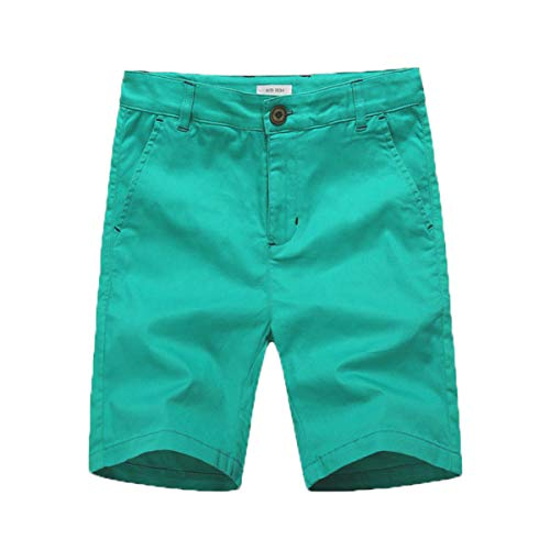 KID1234 Boys Shorts - Flat Front Shorts with Adjustable Waist,Chino Shorts for Boys 5-14 Years,6 Colors to Choose Green