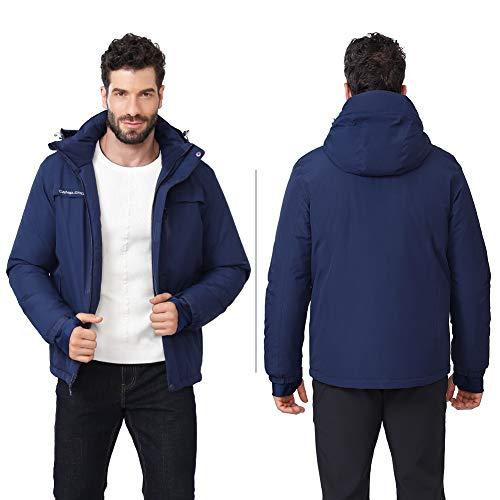 41GF2GBKzUL. SS500  - CAMEL CROWN Men's Mountain Snow Waterproof Ski Jacket Detachable Hood Windproof Fleece Parka Rain Jacket Winter Coat