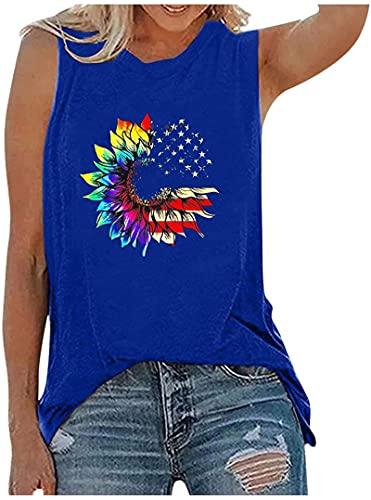 Womens Tank Tops 4th of July American Flag Print Vest Casual Sleeveless Tank Top Tunic tee Summer Shirts