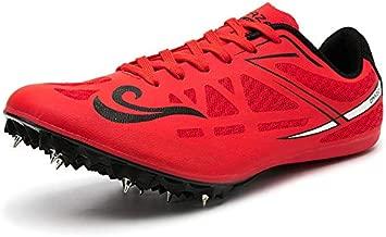 BETOOSEN Men's Women's Cross-Country Running Sneakers Lightweight Jumping Track Shoes for Boys and Girls (7.5 M US Women/6 M US Men, Red)