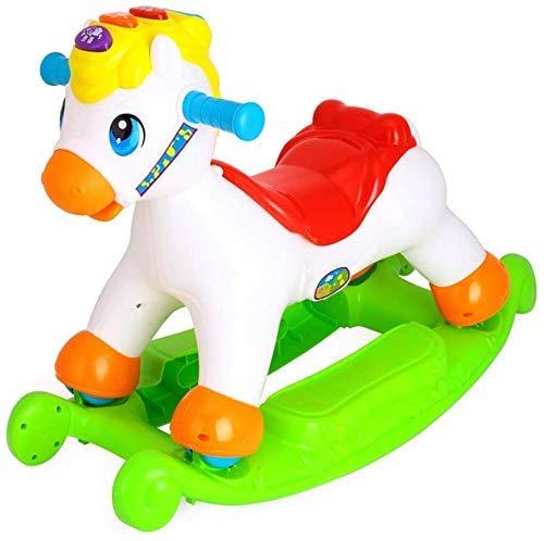 Sofa Children's Rocking Horse Kleine kinderen houten paard te schuiven for tweeërlei gebruik Plastic Verdikte Rocking Chair baby speelgoed van éénjarigen Gift Lostgaming