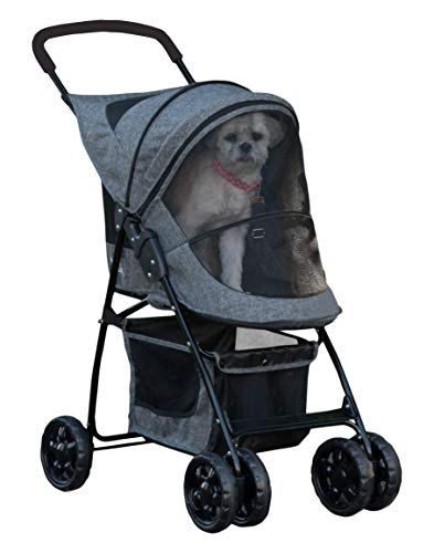 Pet Gear Happy Trails Pet Stroller for Cats/Dogs, Easy Fold with Removable Liner, Storage Basket, Classic Grey (PG8030CG)