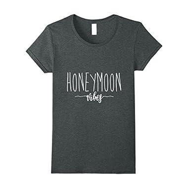 Womens Honeymoon vibes t-shirt - Newly wed matching shirts Small Dark Heather