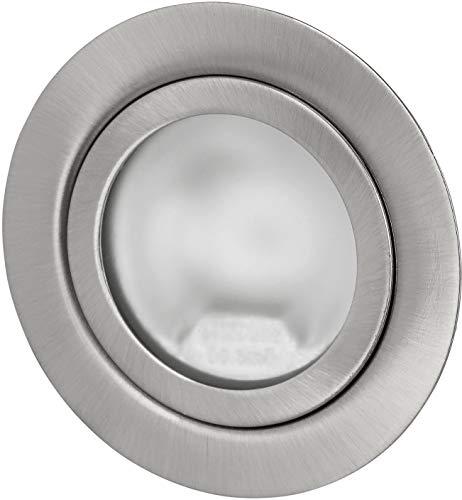 Superslim Einbaustrahler G4 12V - Vollmetall gebürstet - passt in 60er Dose - mit Glasabdeckung matt - Einbau Ø 60mm - 21mm tief