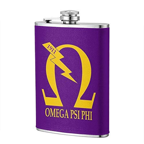 Omega Psi Phi Hip Flask para licor frasco vino Flagon taza novedad divertida 8 oz