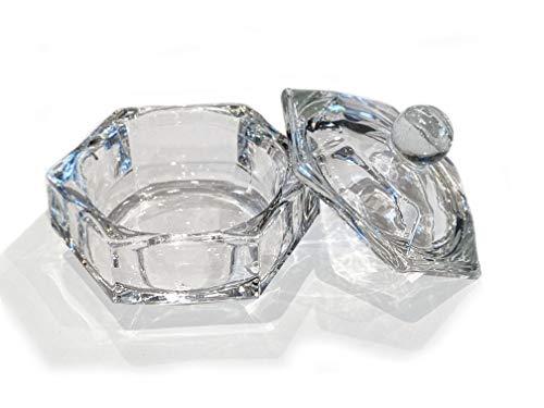 JND Professional Acrylic Liquid Monomer Small Dappen Dish + Lid Glass Crystal Bowl Nail Art Powder Cup (Hexagon)