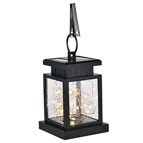Linterna solar LED, linterna colgante de llama parpadeante de metal, luz decorativa de jardín al aire libre, IP65, impermeable, portátil, para jardín, decoración de camino, árbol, patio