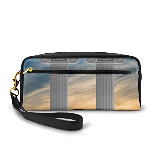 Pencil Case Pen Bag Pouch Stationary,Two Ancient Marble Pillars at Sunset Clouds in The Sky Digital Image,Small Makeup Bag Coin Purse