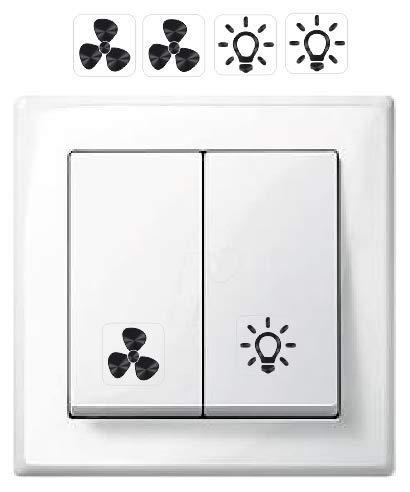 Generisch 2 x Licht und 2 x Ventilator Symbol Aufkleber, Schalteraufkleber (R75/8/2) (1,5 x 1,5 cm)