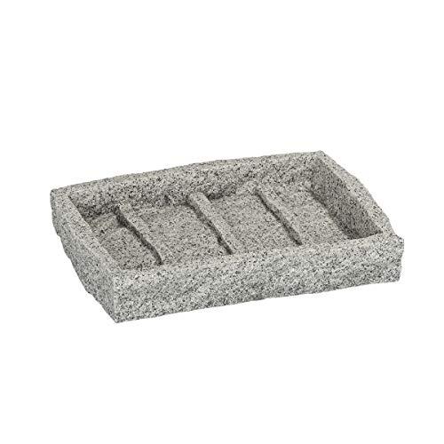 Wenko Seifenablage Granit, Seifenschale zur Aufbewahrung von Handseife, aus Kunststoff in Stein-Optik, 13,5 x 2,2 x 9,1 cm, grau