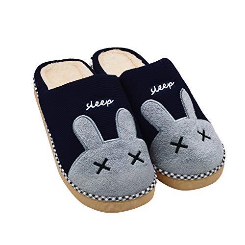 Sporzin Zapatillas de Casa para Mujer Hombre Unisexo Lindo Conejo Invierno Pelusa Zapatos Antideslizante Pantuflas