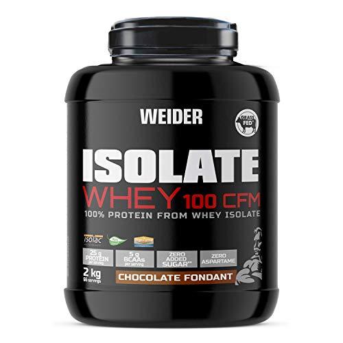 Weider Isolate Whey 100CFM 2000 gr Chocolate. 100% aislado de proteina de suero. Cero azúcar, cero aspartamo, con stevia, con dygezime, con BCAA, apto para veganos. Isolac. Para dietas keto. ⭐