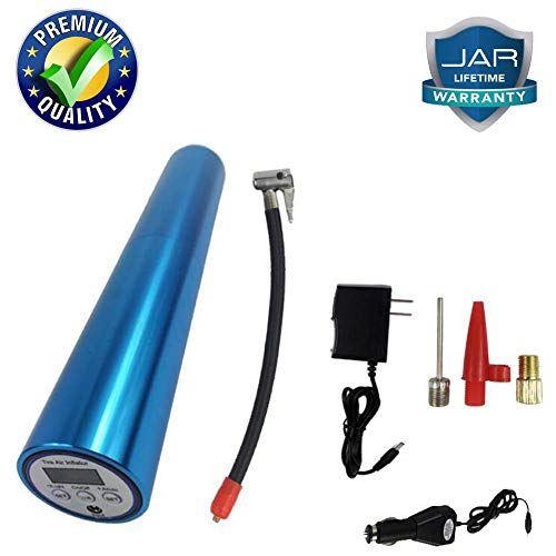 Draadloze luchtpomp, draagbaar, digitaal, mini-auto, elektrisch, 12 V, met led-display en oplaadbare accu, voor auto's, motorfietsen, fietsen, zilverkleurig Blauw