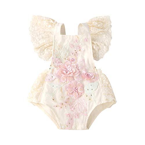 puseky Mono de encaje bordado floral para bebé recién nacido