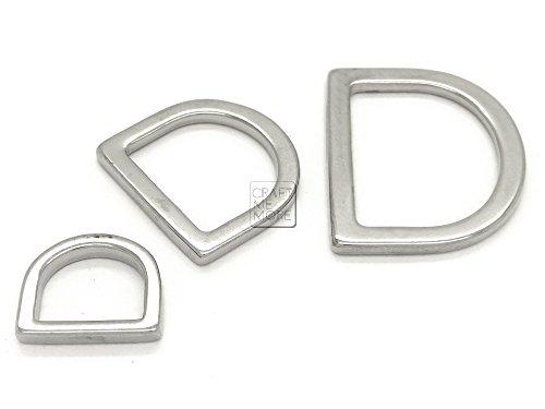 CRAFTMEmore Silver D Rings Purse Loop Flat Metal D-ring Findings for Bag Belt Strap Webbing 25 pcs (1/2 Inch)