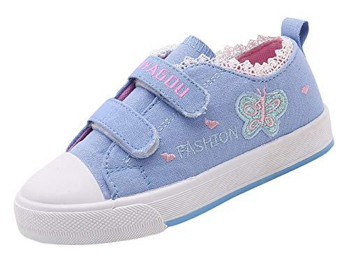 EOZY-Scarpe Tela per Bambina Calzatura Stampato Farfalla Pizzo Sneaker Scarpine Bimba Azzurro 28 EU