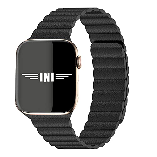 INI Compatible with Apple Watch Band 44mm 42mm Regular - Enhanced Adjustable Leather Strap with Magnetic Closure System for iWatch Series SE/6/5/4/3/2/1 - Black