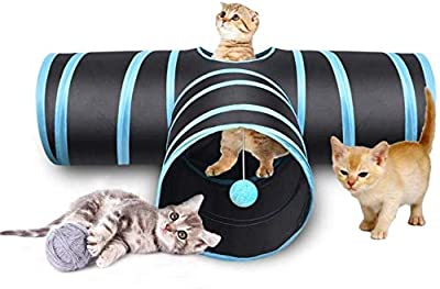 Cat Tunnel for Indoor Cats 3 Way Collapsible Cat Toys Tunnel Tube for Kittens