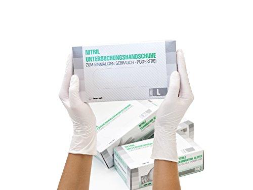 Untersuchungshandschuhe Nitril unsteril puderfrei Größe L, 100 St/box, Weiß