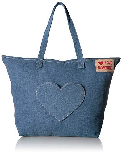 Love Moschino Damen Borsa Denim Henkeltasche, Blau (Blu), 13x36x53 centimeters