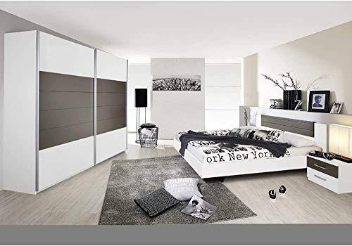 Nachttische und Lavagrau Nachahmung, all-weißen Schlafzimmer, eine ganze Reihe von modernen Schlafzimmer mit Schiebetüren Schränke, Betten und Nachttische,White