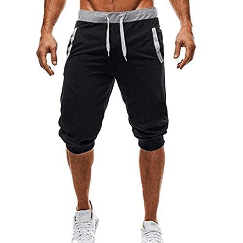 OSYARD Herren Sport Zeichnen Hosen Elastische Stretchy Bodybuilding Bermuda Jogginghose(2XL, Schwarz)