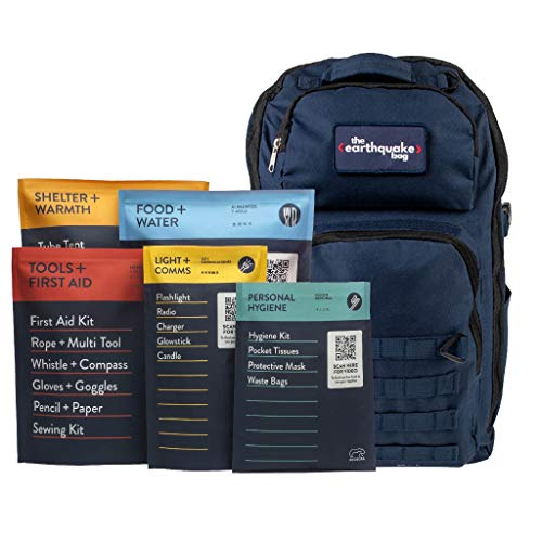 Redfora Complete Earthquake Bag - Most Popular Emergency kit for Earthquakes, Hurricanes, floods + Other disasters (1 Person, 3 Days)
