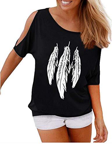 GNRSPTY Mujer Casual Camiseta Manga Corta Sin Tirantes Verano Estampado de Plumas Suelto T-Shirt Tops,Negro,M