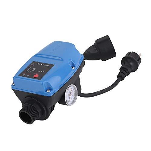 Triamisu Controlador de presión de la Bomba de Agua 5MIT Interruptor de Control de presión automático electrónico con manómetro Enchufe de la UE - Enchufe de la UE Azul y Negro