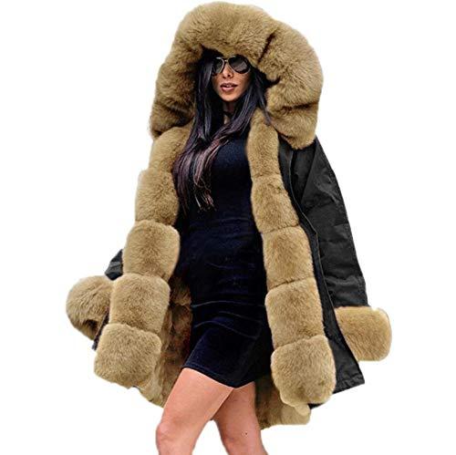 Mariposa BB espesar abrigo cálido señora invierno mujeres capucha polar chaqueta de piel sintética parka chaqueta larga Outwear tamaño 8-20, negro, XXL