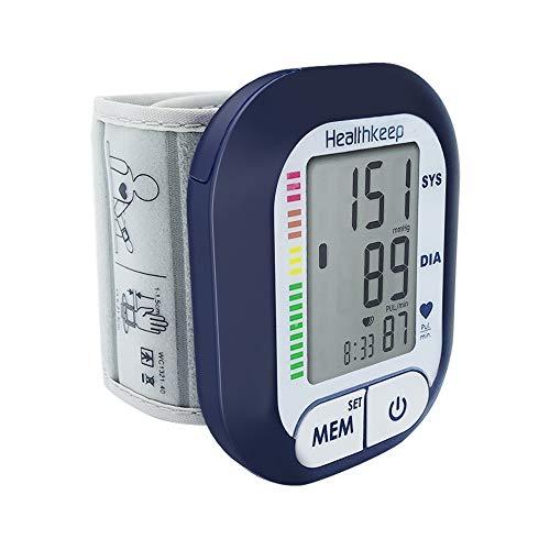 Tensiometro de Muñeca Monitor de Presión Arterial Aparato para Medir La Tensión Arterial con Detección de Pulso de Frecuencia Cardíaca Totalmente Automática Pantalla LCD Grande