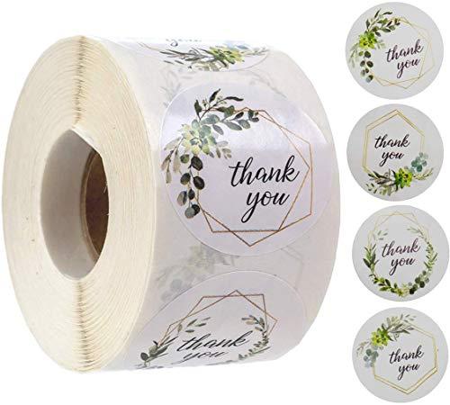 Rollo de pegatinas de agradecimiento, 1 pulgada, 500 piezas de pegatinas de...