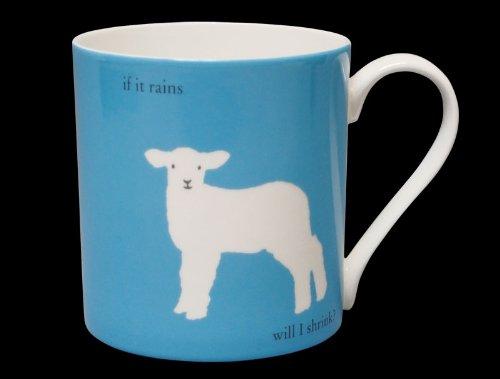 """Silhouette Tasse aus feinem Porzellan, mit Aufschrift """"If it rains will I shrink?"""", groß, Blau"""
