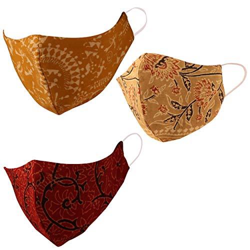 Indian Heritage Stoff Ajrakh Gesichtsmasken Wiederverwendbare Waschbar Handcrafted Baumwolle Double Layer Komfortables Design elastischen earloops für FrauenMänner. Packung 3 Khaki Gelb Schwarz Rot