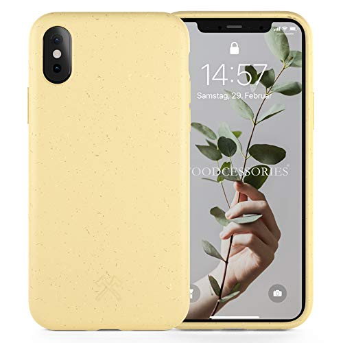 Woodcessories - Antibakterielle Bio Hülle kompatibel mit iPhone XS Hülle gelb, iPhone X Hülle gelb - Plastikfrei, nachhaltig