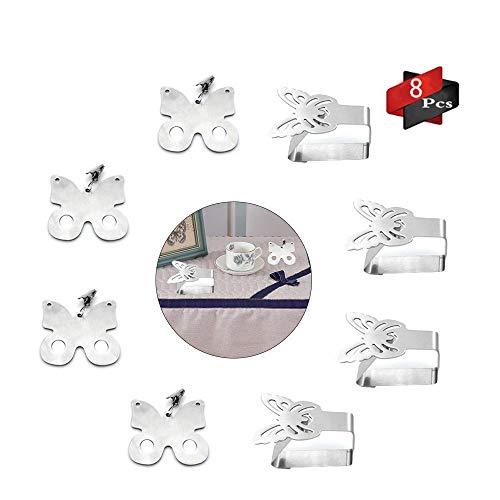 Anyingkai 8Pcs Tischdeckenbeschwerer Outdoor, Tischdeckenbeschwerer Edelstahl, Tischdeckenbeschwerer Set, Tischtuchhalter für Drinnen Draußen, Tischdeckenbeschwerer mit Klammer (A-Schmetterling)