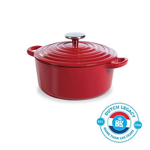 BK Cookware H6072.520 BK Bourgogne Dutch 20 cm/2,5 l, in ghisa, rivestimento smaltato, coperchio con anelli di gocciolamento, lavabile in lavastoviglie, colore: rosso