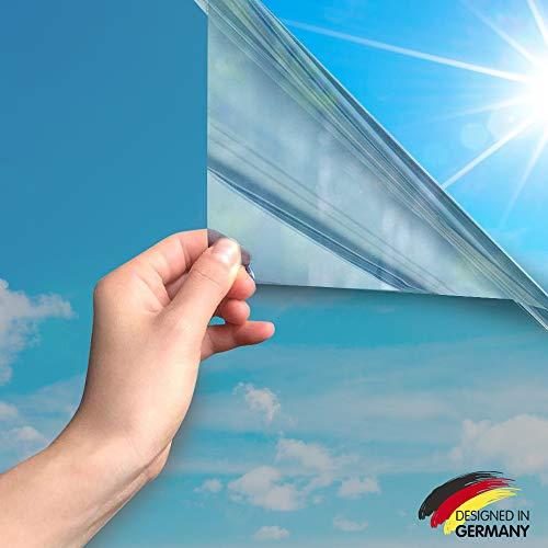 MARAPON ® Spiegelfolie selbstklebend [90x200 cm] - Spiegelfolie Fenster Sichtschutz 99%-UV-Schutz, Infrarot-Schutz - Wärmeschutzfolie Dachfenster