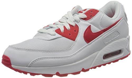 Nike Herren AIR MAX 90 Laufschuh, White Hyper Red Black, 43 EU