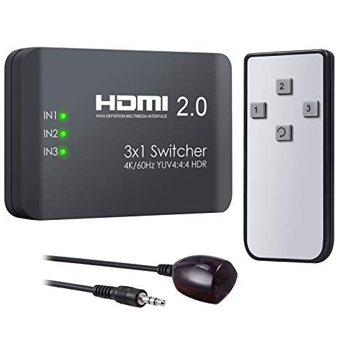 VinTeam HDMI Switch 3 Ports HDMI 2.0 Switcher Support 4K@60Hz YUV 4:4:4 and HDR HDMI Hub with IR Remote for Blu-ray One X PS4 Pro TV Box Laptop Projector HDTV