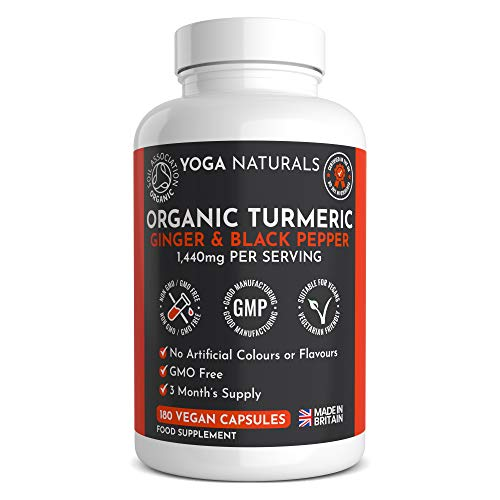 Organic Turmeric Curcumin 1440mg with Black Pepper & Ginger - 180 Vegan Turmeric Capsules High Strength (3 Month Supply) – Certified Organic by Soil Association - Made in The UK by YOGANATURALS