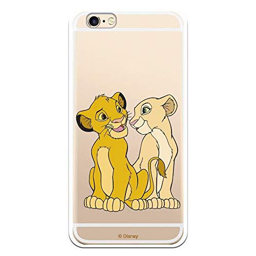 Funda para iPhone 6-6S Oficial de El Rey León Simba y Nala Silueta para Proteger tu móvil. Carcasa para Apple de Silicona Flexible con Licencia Oficial de Disney.