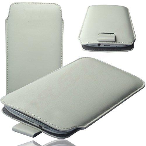 MOELECTRONIX HQ WEIß Slim Cover Hülle Schutz Hülle Pull UP Etui Smartphone Tasche passend für ARCHOS 45 Neon